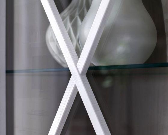 Vitrinenschrank Vitrine Georgia Pinie Struktur weiß im Landhausstil Schrank 139 x 205 cm