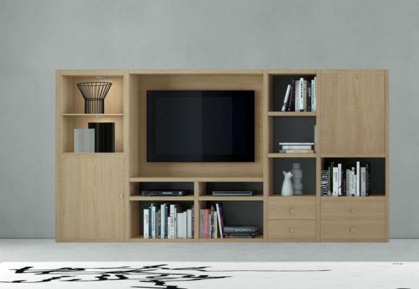 Wohnwand Mediawand Bücherwand MDor Dekor Lack weiß matt mit TV-Fach LED-Beleuchtung