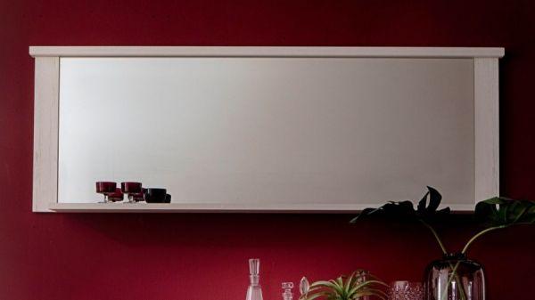 Wandspiegel mit Ablage Georgia Pinie Struktur weiß im Landhausstil 197 x 63 cm