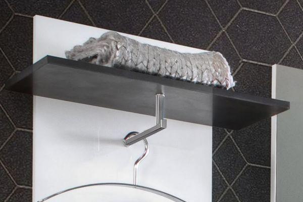 Wandgarderobe Garderobenpaneel Sol Lack Hochglanz weiß und grau 53x160 cm