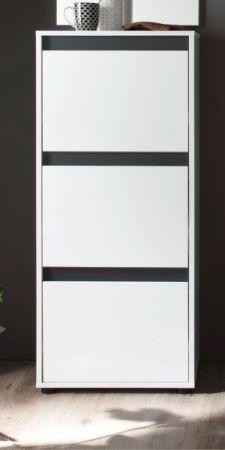 Schuhschrank Kommode Schuhkipper Sol in Lack Hochglanz weiß und grau 50x126 cm