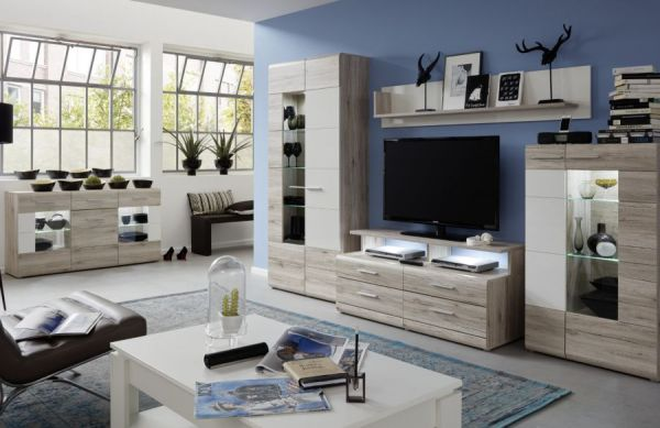 wohnwand apollo eiche san remo sand und wei 295 cm. Black Bedroom Furniture Sets. Home Design Ideas