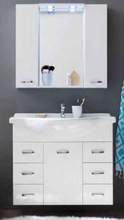 Badmöbel Set Aqua weiß Hochglanz Lack kompakt Waschplatz mit Waschbecken Spiegelschrank und Beleuchtung 90 cm