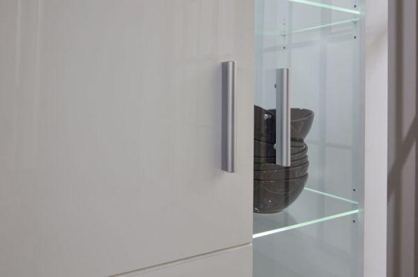 Vitrinenschrank Kito Hochglanz weiß Vitrine inkl. LED Beleuchtung 81 x 200 cm