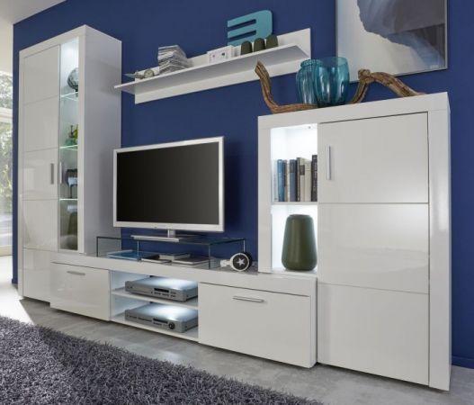 Wohnwand Schrankwand Kito Hochglanz weiß inkl. LED-Beleuchtung 291 x 197 cm