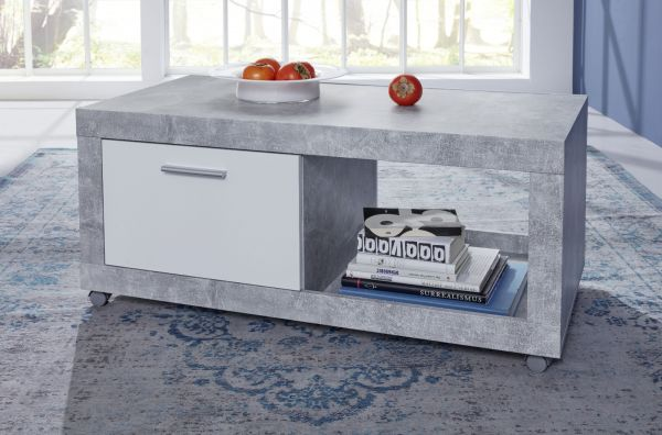 couchtisch in betonoptik und wei 110 x 59 cm. Black Bedroom Furniture Sets. Home Design Ideas
