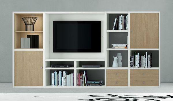 Wohnwand Mediawand Bücherwand MDor Eiche Natur mit TV-Fach LED-Beleuchtung