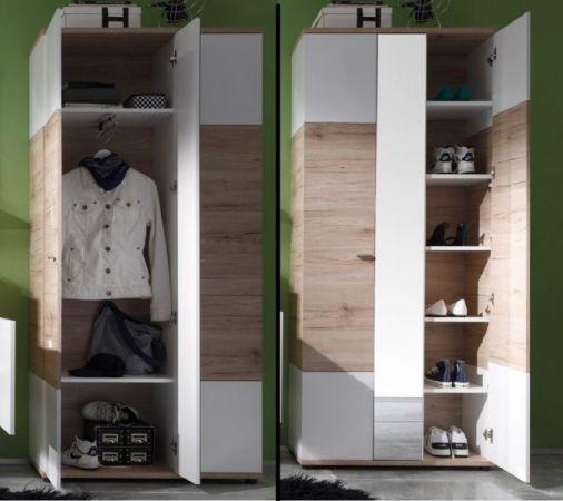 """Garderobenschrank """"Campus"""" San Remo Eiche, hell, mit weißen Elementen (90x190 cm)"""