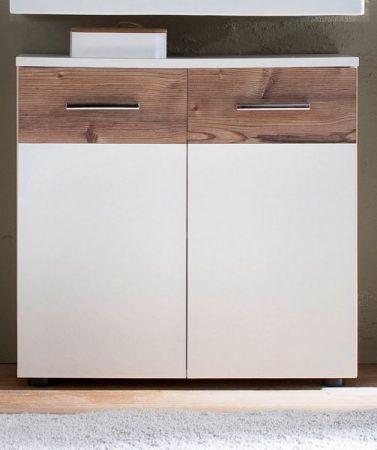 Waschbeckenunterschrank Summer weiß mit Bramberg Fichte Badmöbel 70 x 65 cm