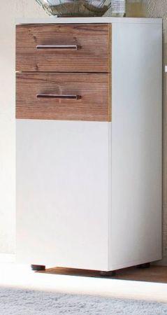 Bad Kommode Unterschrank Summer in weiß und Bramberg Fichte 35 x 80 cm