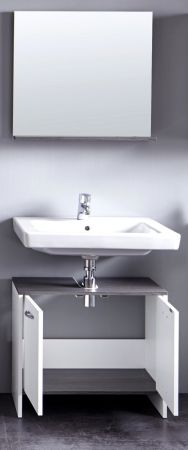 Badmöbel Set California weiß und Rauchsilber 2-teilig mit Waschbeckenunterschrank und Spiegel
