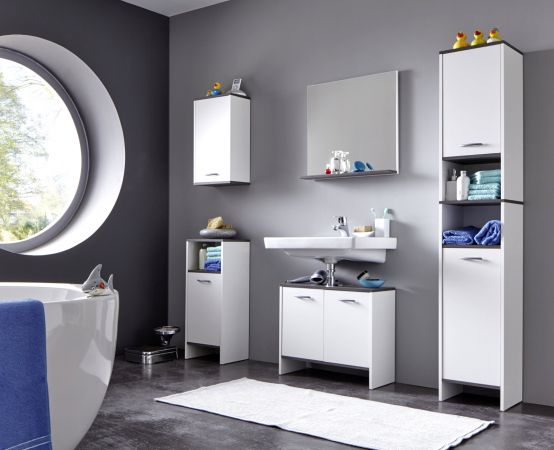 Badmöbel Set California 3-teilig in weiß und Sardegna grau Rauchsilber 112 x 180 cm Badkombination