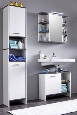 Badmöbel Komplett-Set California weiß und Rauchsilber 3-teilig 112 x 180 cm mit Spiegelschrank