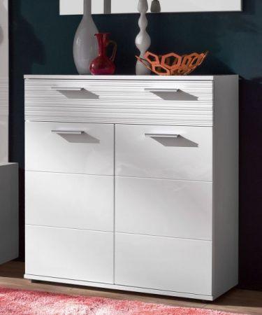 Flur Garderobe Ice in Hochglanz weiß und weiß Melamin mit Rillenoptik Komplett-Set 5-teilig 242 x 191 cm