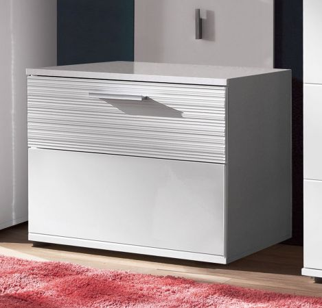 Flur Garderobe Ice in Hochglanz weiß und weiß Melamin mit Rillenoptik Komplett-Set 4-teilig 166 x 191 cm