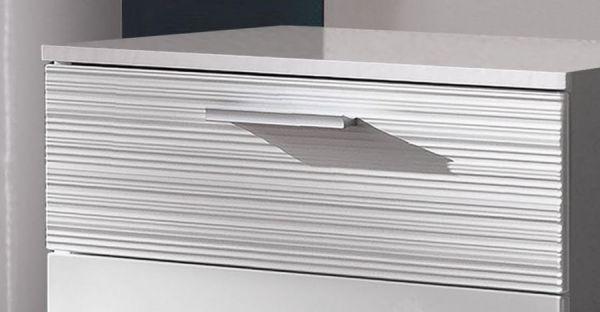 Garderobenbank Schuhbank Ice in Hochglanz weiß mit Rillenoptik Sitzbank 60 x 47 cm