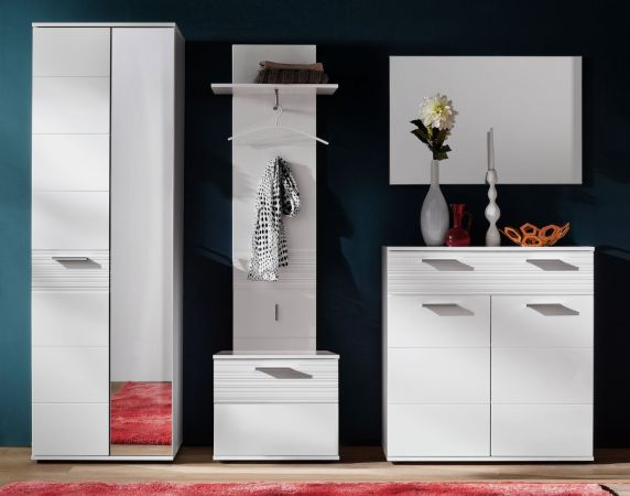 sitzbank garderobe ice hochglanz wei mit rillenoptik. Black Bedroom Furniture Sets. Home Design Ideas