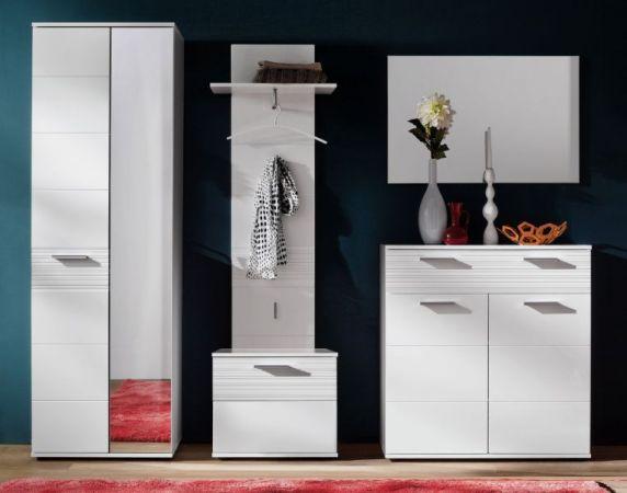 Garderobenpanneel Garderobe Ice in Hochglanz weiß und weiß Melamin mit Rillenoptik 60 x 143 cm
