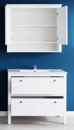Badmöbel Set Ole Landhaus weiß 3-teilig mit Unterschrank Keramik-Waschbecken und Spiegelschrank 81 x 192 cm