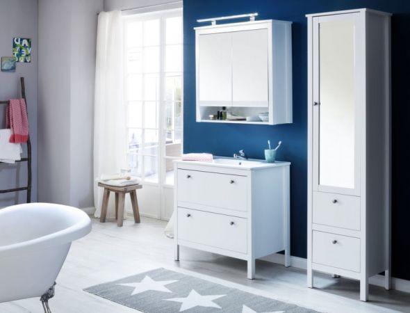 Bad Spiegelschrank Ole in weiß Landhaus 80 cm Badschrank optional mit LED Spiegellampe