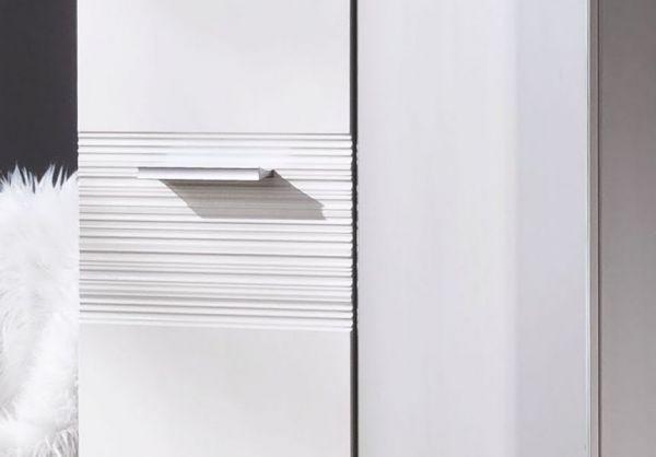 Flur Garderobe Ice in Hochglanz weiß mit Rillenoptik Garderoben-Set 4-teilig 242x191 cm
