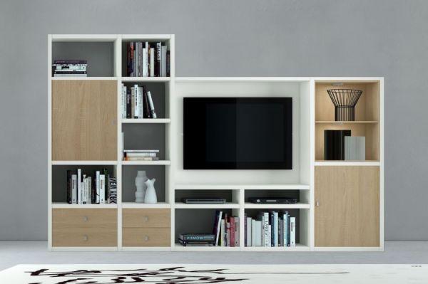 Wohnwand Mediawand Bücherwand MDor Lack weiß matt Eiche Natur mit TV-Fach LED-Beleuchtung