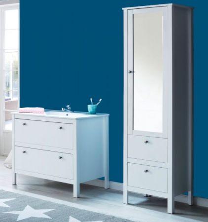 Badmöbel Set Ole weiß 3-teilig Badezimmer mit Unterschrank Keramik-Waschbecken und Hochschrank mit Spiegeltür
