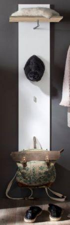 Flur Garderobe Garderobenpaneel Sol Lack Hochglanz weiß und Alteiche Dekor 35x160 cm