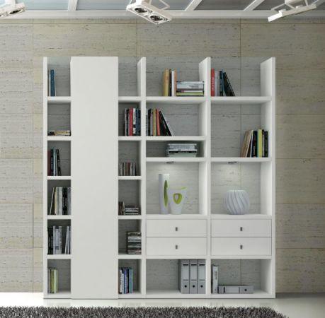 Wohnwand Bücherwand MDor Dekor Lack weiß matt LED-Beleuchtung Breite 212 cm