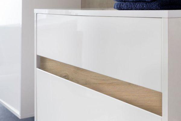 Badmöbel komplett Set echt Lack Hochglanz weiß und Alteiche Dekor 5-teilig Sol Hängeschränke