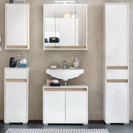Badezimmer Hängeschrank Sol echt Lack Hochglanz weiß und Alteiche Dekor