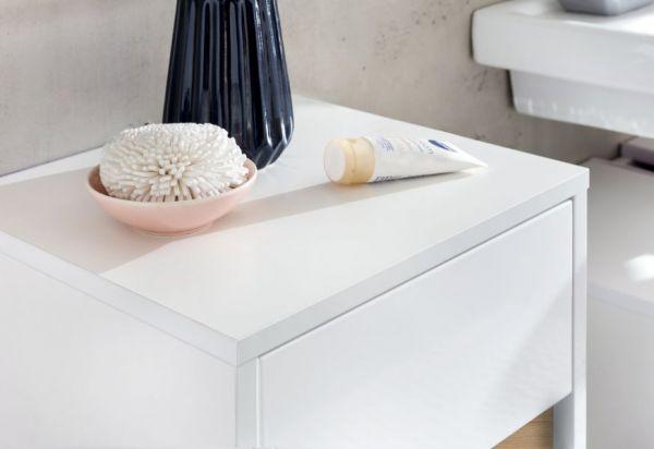 Badschrank Kommode Sol Hochglanz weiß Lack und Alteiche Dekor Unterschrank 35x89 cm