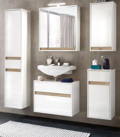 Bad Spiegelschrank 3 Türen 3D in weiß und Alteiche Dekor Sol 67 x 73 cm