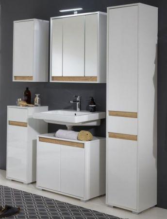 Bad Waschbeckenunterschrank Sol in Hochglanz weiß Lack und Alteiche Dekor 67x60 cm