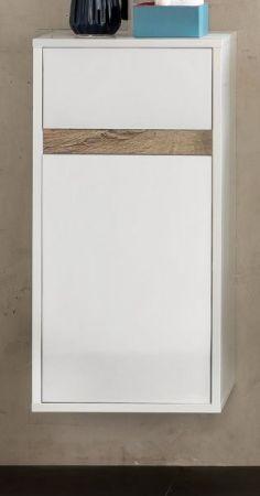 Bad Hängeschrank Sol Hochglanz weiß Lack und Alteiche Dekor 35x73 cm