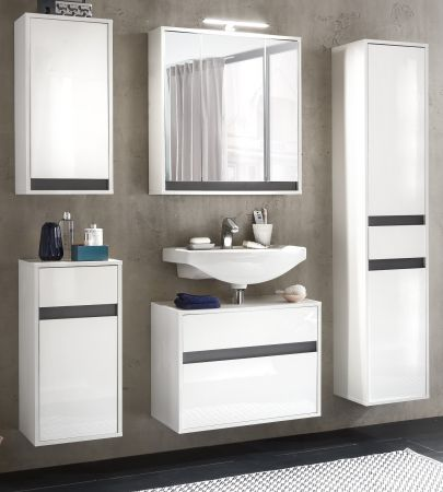 Badschrank Midischrank Sol in Hochglanz weiß Lack und grau stehend oder hängend