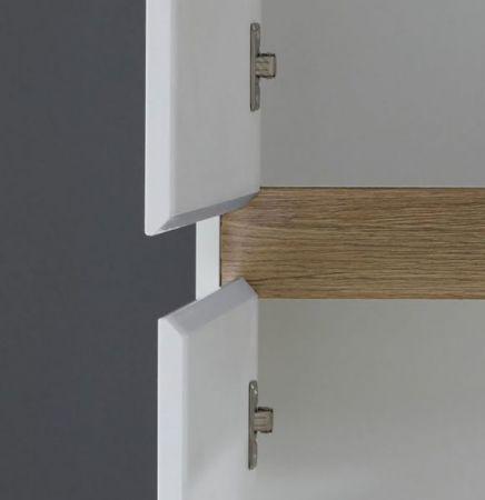 Badschrank Midischrank Sol in Hochglanz weiß Lack und Eiche / Alteiche Hängeschrank 67 cm