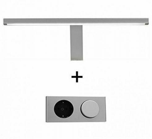 Badezimmer Badmöbel Set Amanda Hochglanz grau inkl. LED-Beleuchtung Badkombination 6-teilig