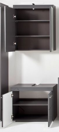 Badezimmer Badmöbel Set Amanda Hochglanz grau Badkombination 2-teilig 60 x 190 cm