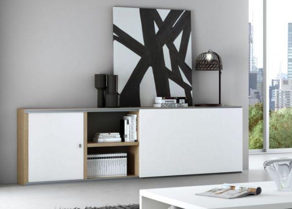 Sideboard Eiche Natur Lack weiß matt mit Schiebetür Breite 241 cm