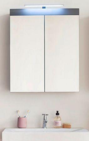 Badezimmer Spiegelschrank Amanda in Hochglanz grau 2-türig 60 x 77 cm inklusiv LED Spiegellampe