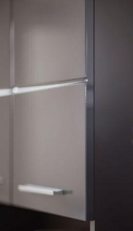 Badezimmer Hochschrank Amanda in Hochglanz grau Badschrank 37 x 190 cm Badmöbel