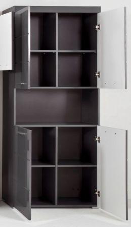 Badezimmer Hochschrank Amanda in Hochglanz grau Badschrank 73 x 190 cm Badmöbel Mehrzweckschrank