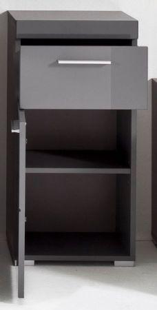 Badezimmer Unterschrank Amanda in Hochglanz grau Badschrank 37 x 79 cm Kommode Badmöbel