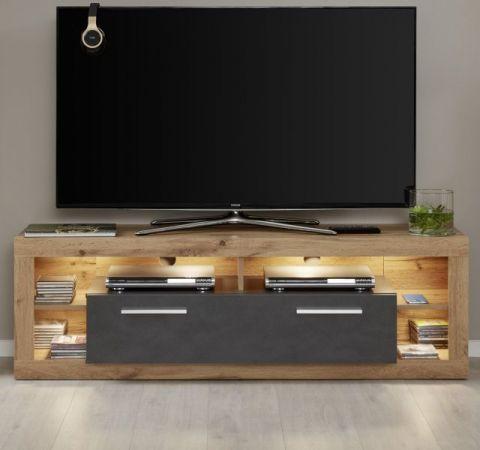 TV-Lowboard Rock in Matera anthrazit und Wotan Eiche TV-Unterteil 150 x 48 cm