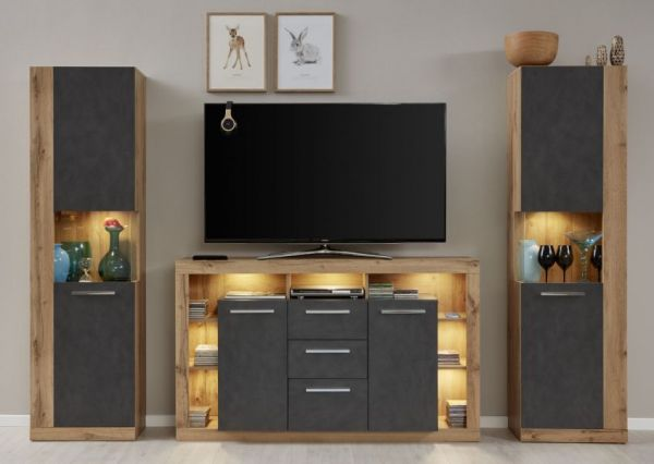 TV-Sideboard Rock in Matera Anthrazit und Wotan Eiche Unterteil 150 x 90 cm