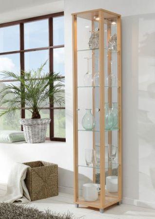 Vitrine Glasvitrine weiß mit Spiegelrückwand und Beleuchtung