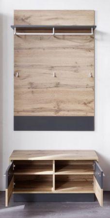 Flur Garderobe Coast Wotan Eiche Dekor und grau Garderobenset mit Bank und Paneel Breite 84 cm inkl. Beleuchtung