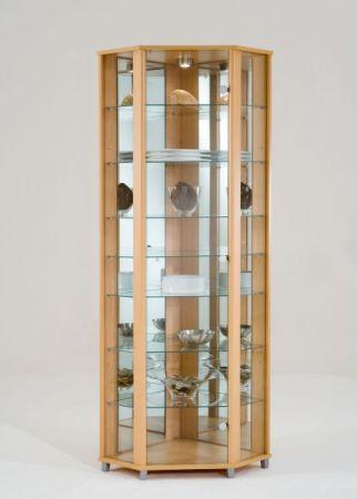 Eckvitrine Glasvitrine weiß mit Spiegelrückwand und LED Beleuchtung