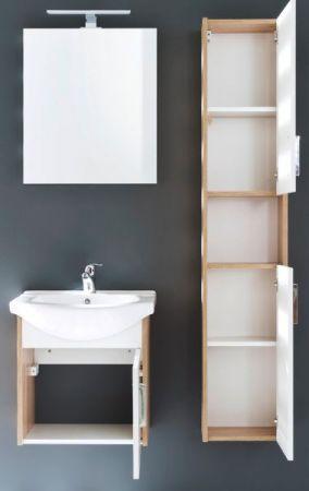 Badmöbel Komplett Set Jersey in weiß und Eiche Sonoma 4-teilig Badezimmer inkl. Keramik-Waschbecken